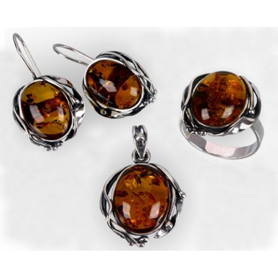 Sterling silver and amber (available colours: cognac or green)