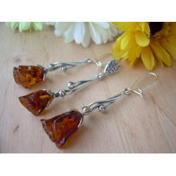 Sterling silver and amber roses RS1
