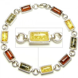 Sterling silver cognac, green and yellow amber bracelet