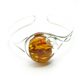 Handmade leaf motifs BANGLE with genuine cognac BALTIC AMBER