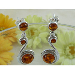 Cognac Baltic amber earring with sterling silver