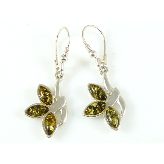 Amber earrings - green