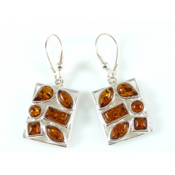 Very Unique Earrings  Sterling Silver Cognac Amber Earrings