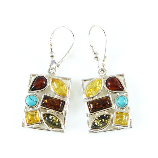 Very Unique Sterling silver amber and turquoise earrin