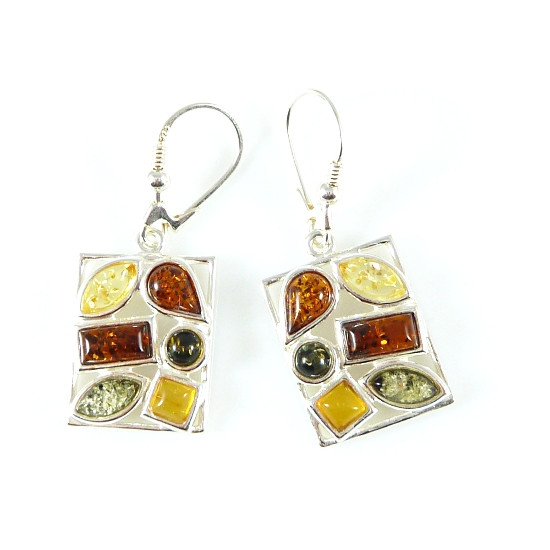 Sterling silver green, cognac and yellow amber