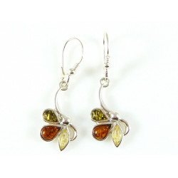 Cognac, green and yellow amber earrings