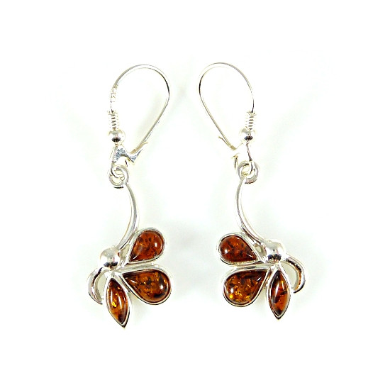 Cognac Colour Amber Earrings
