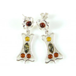 Unique amber earrings - green, yellow and cognac