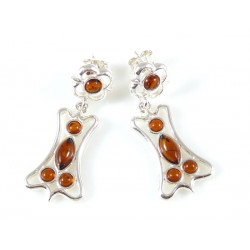 Unique amber earrings - cognac