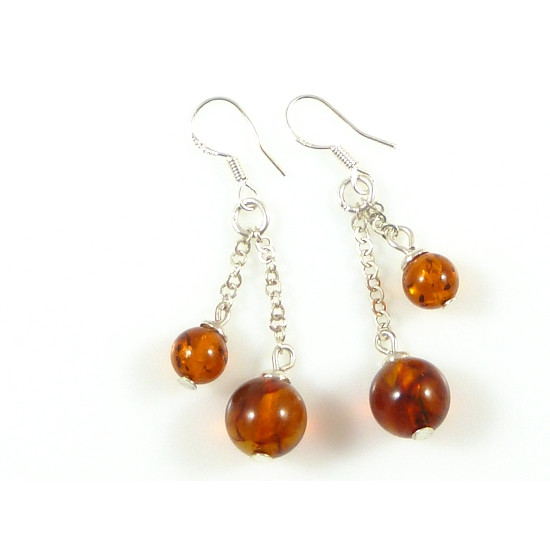 Cognac beaded amber earrings - elegant