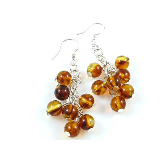 Sterling silver and cognac earrings - handmade