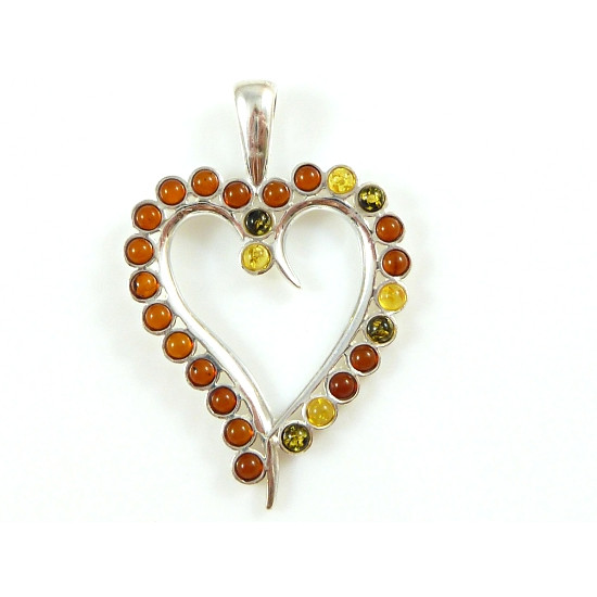 Beautiful amber heart - green, yellow and cognac amber pendanr