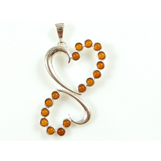 Honey amber two hearts pendant