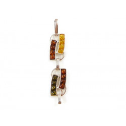 Amber pendant - cognac, yellow and green