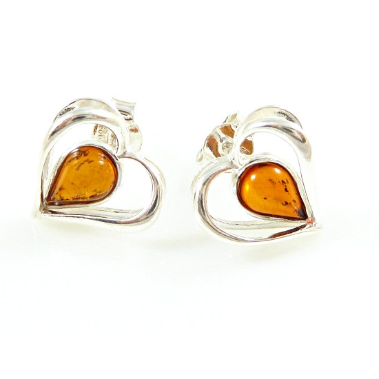 Cognac amber hearts - unique earrings