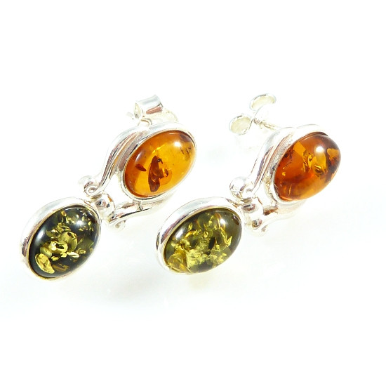 Sterling silver cognac amber earrings