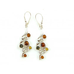 Green, yellow and cognac amber earrings with sterling silver 925