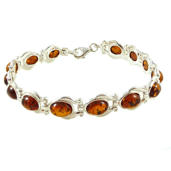 Sterling Silver Cognac Amber Bracelet - extraordinary