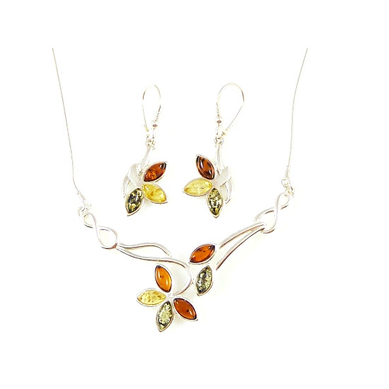 Cognac amber set - bracelet and necklace
