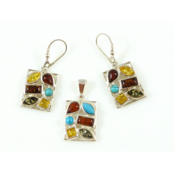 Exclusive amber pendant and earrings - amber and turquoise
