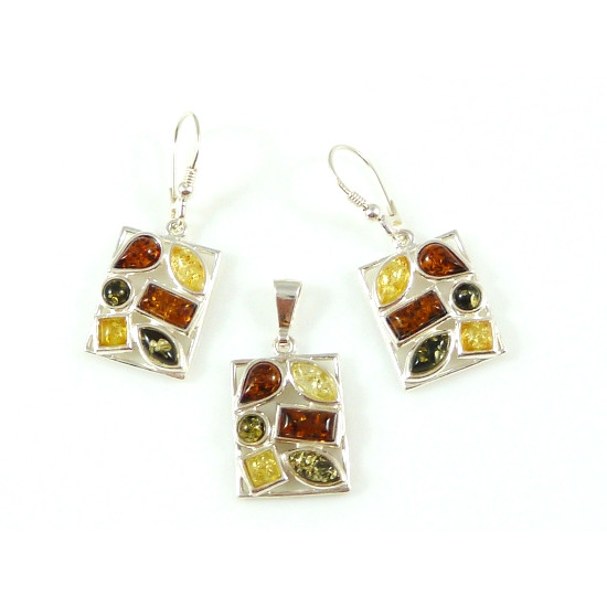 Multicolor amber set - 2 pieces -earrings and pendant