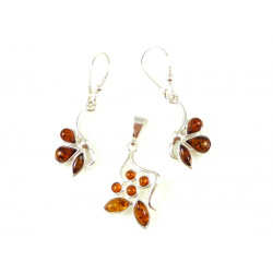 Cognac amber - pendant and earrings - unique set