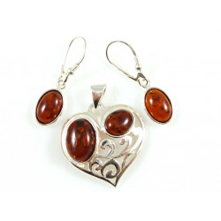 Amber hearts set - earring and pendant
