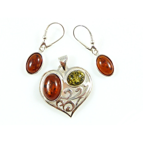 Amber hearts set - earring and pendant- magnifique