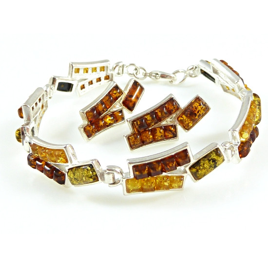 Amber set - sterling silver 925