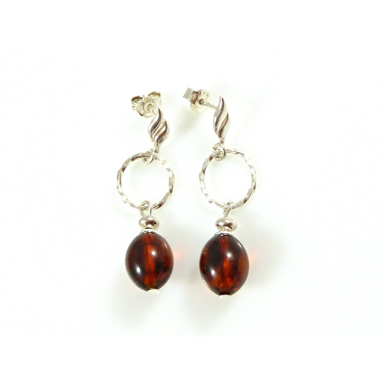 Elegant cognac amber earrings - handmade