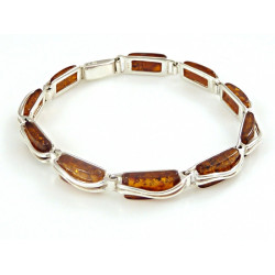 Rectangle amber stones in sterling silver .925 bracelet