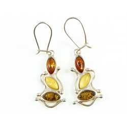 New Design multicolor amber earrings-green cognac and yellow amb