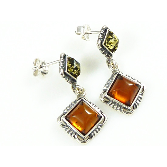 Sterling Silver Cognac and Green Amber Earrings with Cable Borde