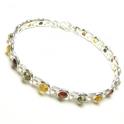 Unique amber bracelet- green, yellow and cognac amber