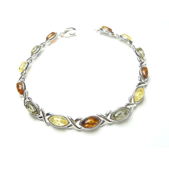 Cognac, green and yellow amber bracelet - Excelent