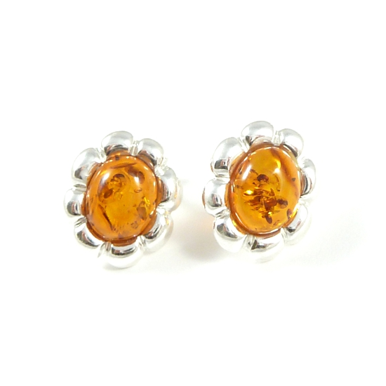 Honey geniune baltic amber flower stud earrings