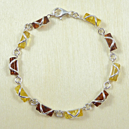 Roller amber bracelet in cognac and yellow - unique