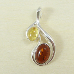 Cognac and yellow amber pendant