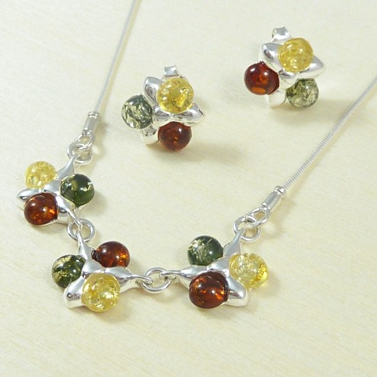 Multicolor Amber Flower Necklace and Earrings