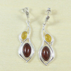 Earrings - magnifique amber stones - cognac and citrine