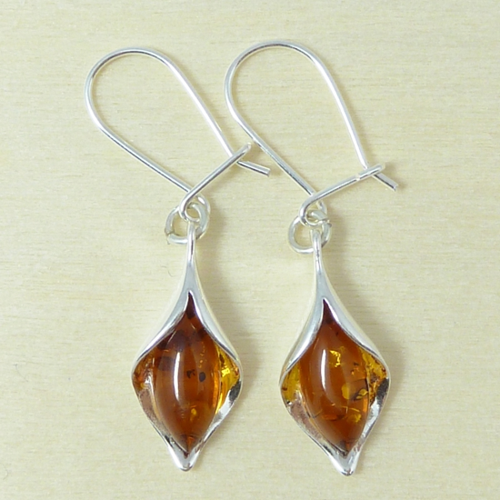 Cognac, Baltic Amber-Cognac Amber Teardrop Earrings