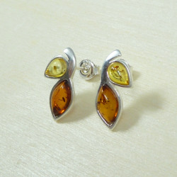 Bi-Colour Amber Sterling Silver Stud Earrings, Cognac  and Lemon