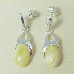 Designer milky amber & sterling silver .925 earrings