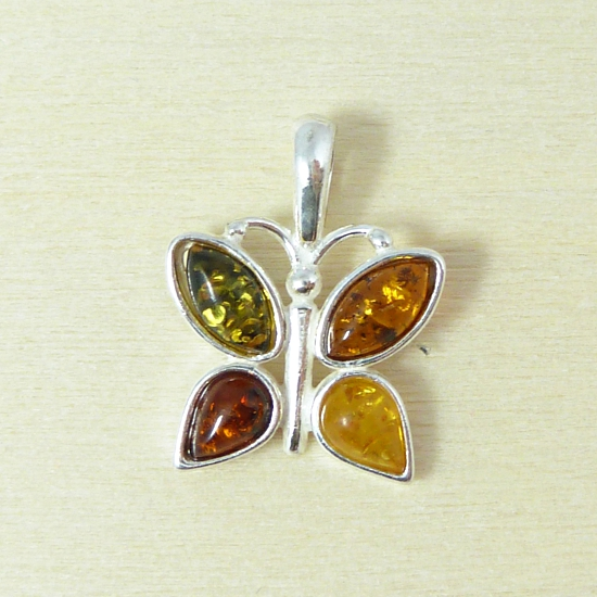 Sterling Silver Multi-Color Amber Butterfly Pendant