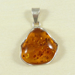Cognac amber pendant with sterling silver 925