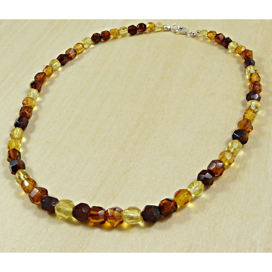 Modern amber necklace - FACETS MULTICOLOR AMBER