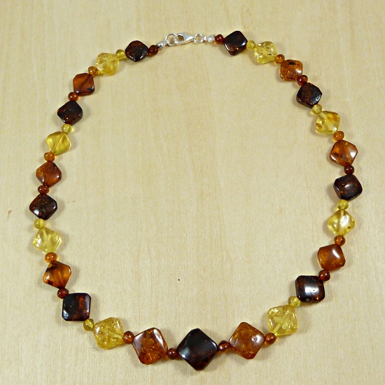 Exclusive multicolor amber necklace - unique stones