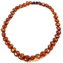 Baltic Amber Cognac Calibrated Disc Necklace -big stones