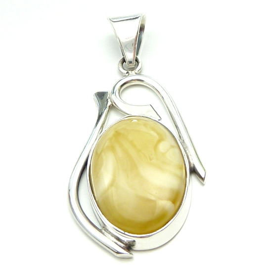Milky amber pendant with sterling silver .925