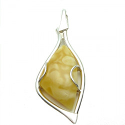 Sterling Silver & Genuine Baltic Milky Amber Pendant  -